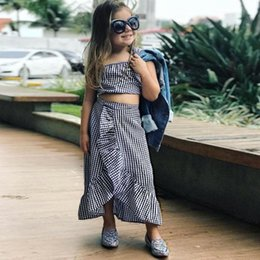 5b131f4cf73 INS Summer Kids Clothing Set Plaid Tube Top Skirt Fashion Baby Clothes Girls  Boutique Casual Outfits