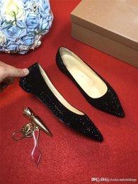 2018 Fashion Nude Patent Studded drill diamant couvert noir brillant appartements chaussures chaussures de dames, chaussures de sport pas de racine mocassins chaussures avec boîte ? partir de fabricateur