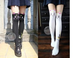 Wholesale Free White Pantyhose - 1pair lot free shipping preppy style female sexy sailor moon tights lady spring autumn cat pantyhose black and white