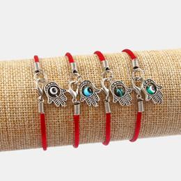 bijoux kabbale hamsa Promotion Dropshipping 6pcs Palm Hamsa Avec Colorful Eye turc Tache de soie rouge Cordons Bracelets Bracelet Kabbalah mal Amulette Bijoux