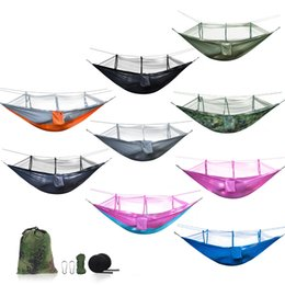 Wholesale Colorful Bedding - 270*140CM Portable Hammock Colorful High Strength Hanging Bed With Mosquito Net Nylon Hammocks For Outdoor Camping Hiking 45kn B