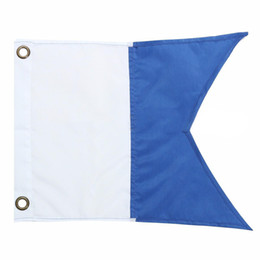 Wholesale Wholesale Sports Signs - New 35x30cm Polyester Blue White Dive Boat Flag International Sign Universal Scuba Diving Boat Floating Hanging Flag Water Sport