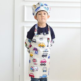 Wholesale Small Cars Kids - 2017 Korean Cartoon Aprons Sleeveless Waterproof Drawing Performance Apparel Kids Apron Small Toy Car Pattern Colorful Cuisine