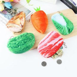 Wholesale meat bags - 5 Styles Simulation Vegetable Meat Coin Purses Key Bag Portable Cute Plush Pencil Case Student Stationery Kid Pocket NNA332