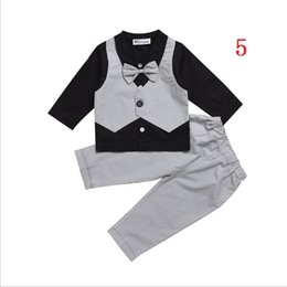 Wholesale Boys Stripe Collared Shirts - Vieeoease Boys Gentleman Sets Baby Clothing 2018 Spring Long Sleeve Bow Shirt + Stripe Pants 2pcs MA-072 mc