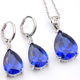 Wholesale Blue Topaz Drop Earrings - Luckyshine 5 Sets Holiday Gift Drop Fire Blue Topaz Crystal Cubic Zirconia 925 Silver Pendants Necklaces&Earrings Wedding Jewelry Sets