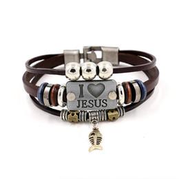 J'AIME JESUS Charm Bracelets Vintage Fish Pendant Christian Multicouche bracelets en cuir pour hommes femmes bracelet KKA1905 ? partir de fabricateur