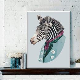 Zebra wanddekor online-Aquarell Zebra Leinwand Malerei Nordic Minimalist Triptychon Gemälde Home Wall Decor Poster Bild Kunst Wohnzimmer Schlafzimmer