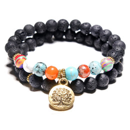 Wholesale indian bead tree - Volcanic stone bracelets weathering agate stone matte yoga set Buddha Beads Bracelet mens Bracelets Tree of Life Pendant 2pc set for womens