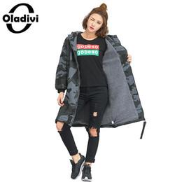 пуховые рубашки Скидка Oladivi  Plus Size Women Velvet Shirt Sweatshirt Female Casual Loose Camouflage Hooded Hoodies Winter Tunic Vestidio Blusas