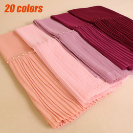 Wholesale Hijab New Design - 20PCS LOT Patchwork special Bubble Chiffon Shawls Summer Solid Color Islam Pearl Wrap Muslim Hijab Scarves Scarf NEW DESIGN