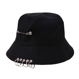 f736305796a Bucket Hat Unisex Folding Hunting Fisherman Outdoor Cap Cool Girl Boy Iron  Ring Fisherman Hiphop Hat Solid Outdoor Cotton Sunhat