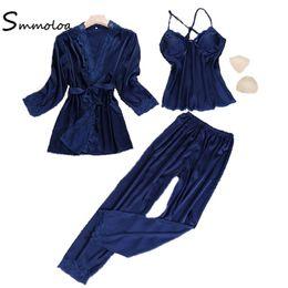 581daaf37d Smmoloa Women Sexy Silk Satin Robe+pants+top Sleepwear 3pcs pajama sets  2018 New Style