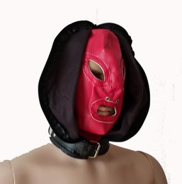 Capa de rosto aberta on-line-Couro feminino Com Zíper Face Dupla Cabeça Bondage Devil Hood com Boca Aberta Olhos Máscara Sensual Restraint Jogar Traje de Halloween
