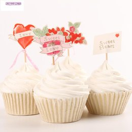 Wholesale Cupcakes Party Favors - Wholesale-New 24pcs Cupcake Toppers Sweet Heart Love Wedding Decorations Cake Decoration Tools Party Decoration Wedding Favors And Gifts