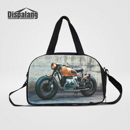 Wholesale Womens Black Large Bags - Dispalang Multifunctional Travel Bag Motorcycle Print Large Capacity Men Hand Luggage Travel Duffle Bag Womens Weekend Bags