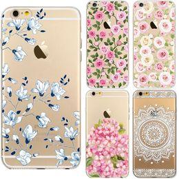 Teléfono celular de la flor online-Para el iphone 5 / 5S PC duro transparente caja de la flor floral mandala blanco Pintura protector de impresión cajas del teléfono celular cubierta