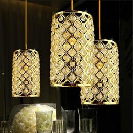 Lampada da soffitto in cristallo dorato chiaro online-Moderna lampada a sospensione a LED in cristallo dorato Lustri per sala da pranzo Corridoi Lampade Lampade Colgantes Comedor