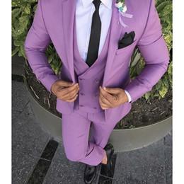 Wholesale Purple Pinstripe Pants - Men's Fashion Purple Wedding Suits For Men Slim Fit Formal Tailor Made Groom Prom Tuxedo 3 Piece Blazer Jacket+Pants+Vest Ternos