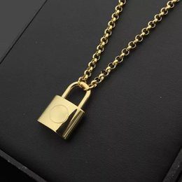Wholesale top pendants - Top quality Wholesale Luxury Brand Jewelry Lover's Pendant Necklace Men Women Lock Charm Necklace Fashion Stainless Steel Necklace
