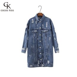 Wholesale Vintage Womens Jacket - 2017 New Cool Long Denim Womens Deep Blue Jackets Full Vintage Button Frayed Loose Western Style Ladies Denim Jackets