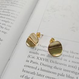 2019 superfície dourada 925 prata esterlina extremamente breve vento como um todo Superfície da bolacha de Ouro brincos de Prata Real brincos personalidade desconto superfície dourada