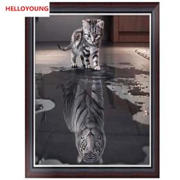 lienzo abstracto de navidad pinturas Rebajas Reflexión diamante Pintura de DIY 5D parcial diamante bordado de punto de cruz kits de gato mosaico del diamante decoración del hogar