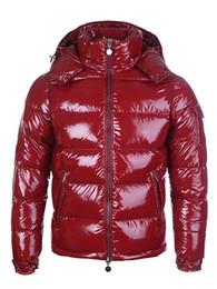 Giacche lucide online-Moda Uomo esterno di inverno lucido opaco Down Jacket Uomo sportivo con cappuccio Piumini Cappotti uomo caldo giacche parka S-3XL