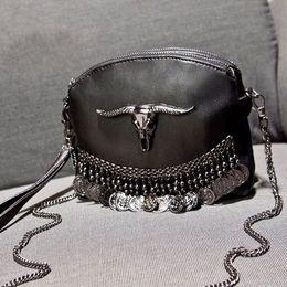 Bolsas mensageiros on-line-2017 designer de mulheres borla crânio cadeia saco PU de couro cor sólida messenger bag moda vintage mulheres bolsa de ombro 605