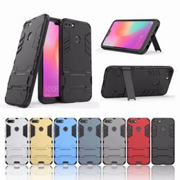 2019 huawei чехол ударопрочный чехол Для Huawei Honor 10 Lite Y6 Y9 2018 Xiaomi 6X Luxury Ironman Case защитник гибридный жесткий пластик + TPU противоударный держатель 2 в 1 обложка задняя кожа дешево huawei чехол ударопрочный чехол