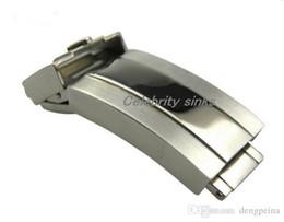 Fibbia da 16 mm online-Fibbia ad ardiglione di 16 mm Chiusura deployante Argento lucido + spazzolato Acciaio inossidabile di alta qualità per rolexwatch