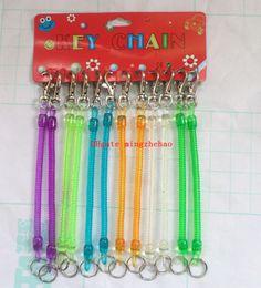 Wholesale Elastic Plastic Rope - 5 Pack 60 Pcs people Retractable telephone cord spring phone plastic keychain tool elastic rope spring rope
