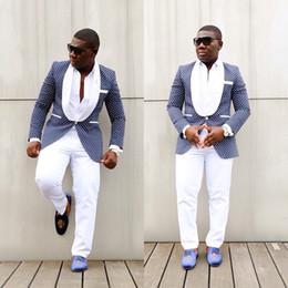 93bc9c1cc0 Latest Coat Pant Designs Groom Fashion Formal Dress Wedding Suits For Men  Slim Fit Suit Blue Dots Prom Tuxedo Best Man Blazer