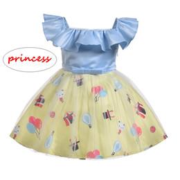 Palloni stampati animali online-INS Girl Cartoon dress Bambini Summer patchwork manica corta vestito Bambini Balloon animal print Ball Gown
