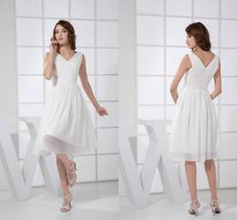 6b1f9109b navy junior bridesmaid dress knee length Promo Codes - 2018 Lovely White  Short A Line Bridesmaid