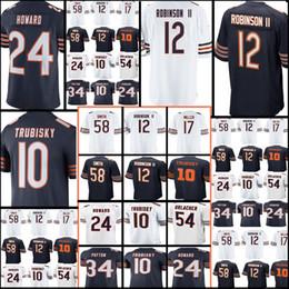 Wholesale M Ii - New 12 Allen Robinson II 10 Mitchell Trubisky 24 Howard 34 Walter Payton 54 Brian Urlacher Jersey Cheap Chicago Men's Bear Football Jerseys