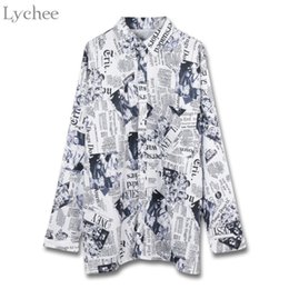 Wholesale newspaper sleeves - Lychee Women Harajuku Blouse Newspapers Pocket Letter Print Long Sleeve Casual Loose Spring Autumn Shirt Female