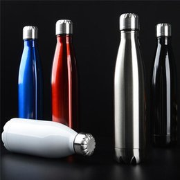 Wholesale bicycle double - 500ml Cola Shaped water bottle Vacuum Insulated Travel Bottles Double Walled Stainless Steel coke Outdoor Car Cup AAA717