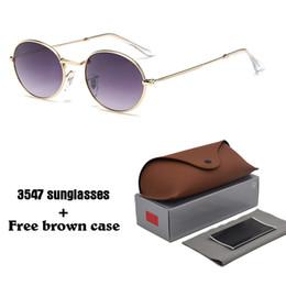 Солнцезащитные очки овальные онлайн-Высокое качество Овальные Модные Солнцезащитные Очки для Мужчин Женщин Бренд Дизайнер Старинные Солнцезащитные Очки Очки Оттенки cuculos с бесплатными чехлами и коробкой