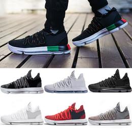 Wholesale Men S Kd Shoes - 2018 Basketball shoes Mens KD 10 Durant Elite Sports Sneakers Triple s Black White BHM Oreo Anniversary Red Blue Multi Color Eur 40-46