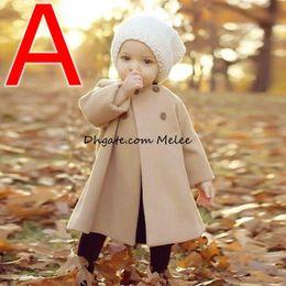 Розничная девушки верхняя одежда пальто дети двубортный шерстяные траншеи дети зима O-образным вырезом куртка теплая одежда из хлопка 0-5 лет бесплатная доставка от