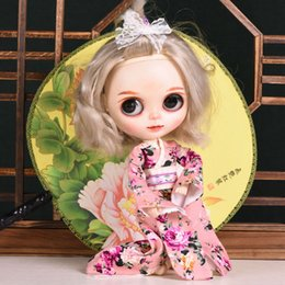 Wholesale japan style kimono - Doll's Japan Style Kimono Dress blyth Doll Clothes for barbi dolls dress for Licca,BJD1 6 Doll Accessories 5 Colors