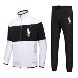 Wholesale design new tracksuits - 2018 Jacket And Pants Tracksuit For Man Fashion Design Brand Cotton Blend Pure Color Zip Neck Sports Suit New Arrival 8868