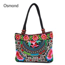 Wholesale handmade embroider flower dress - Osmond National Women Handbag Ethnic Embroidery Flower Totes Shoulder Bag Chinese Style Handmade Embroidered Shopping Bolsas