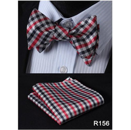 Wholesale Self Bow Ties - Check 100%Silk Jacquard Woven Men Butterfly Self Bow Tie BowTie Pocket Square Handkerchief Hanky Suit Set #RC2