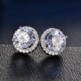 Wholesale Hoop Earrings Diameter - Super Brilliant CZ Halo Earrings 18K White Gold Filled Classic Womens Stud Earrings Elegant Jewelry Gift Diameter 10mm