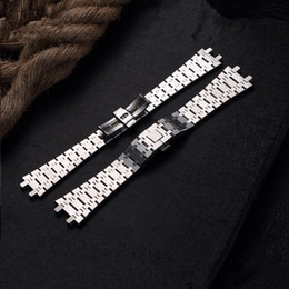 Wholesale Ap Royal - TJP Top Quality 26MM Silver Men's Full Stainless Steel Watch Band Strap Bracelet For AP ROYAL OAK Watch With Word Clasp