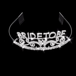 Wholesale Black Rhinestone Tiara - Glitter Bride to Be set Bachelorette Party Decoration Gift Wedding Bridal Shower Hen Party Supplies Metal Rhinestone Tiara Crown