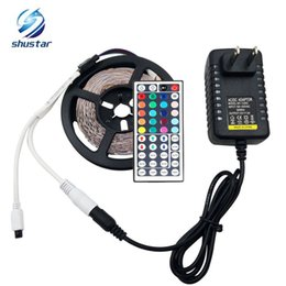 Wholesale Ir Key - X20 DHL RGB 3528 RGB 5M 300 Leds Led light Strip Waterproof strips 44 Keys IR Remote Controller+12V 2A Power Supply With Plug
