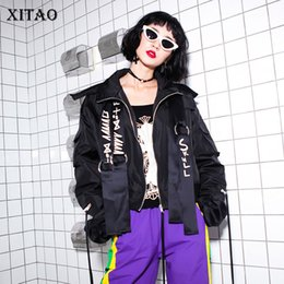 Wholesale down coat europe - [XITAO] 2018 Europe Spring New Street Women Letter Print Ribbons Short Coats Female Full Sleeve Turn-Down Collar Jackets XWW3265